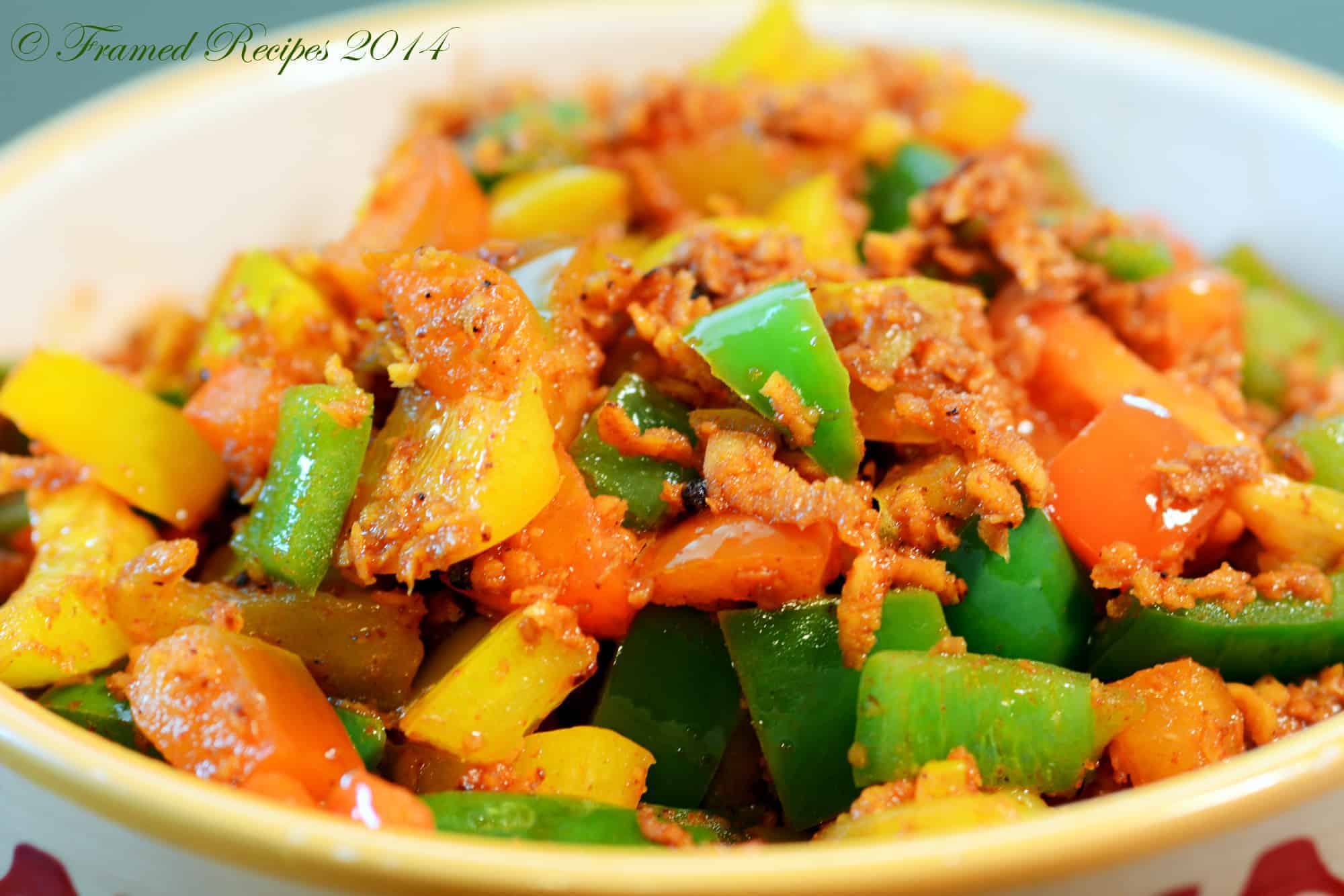 bell pepper stir fry in Indian style.