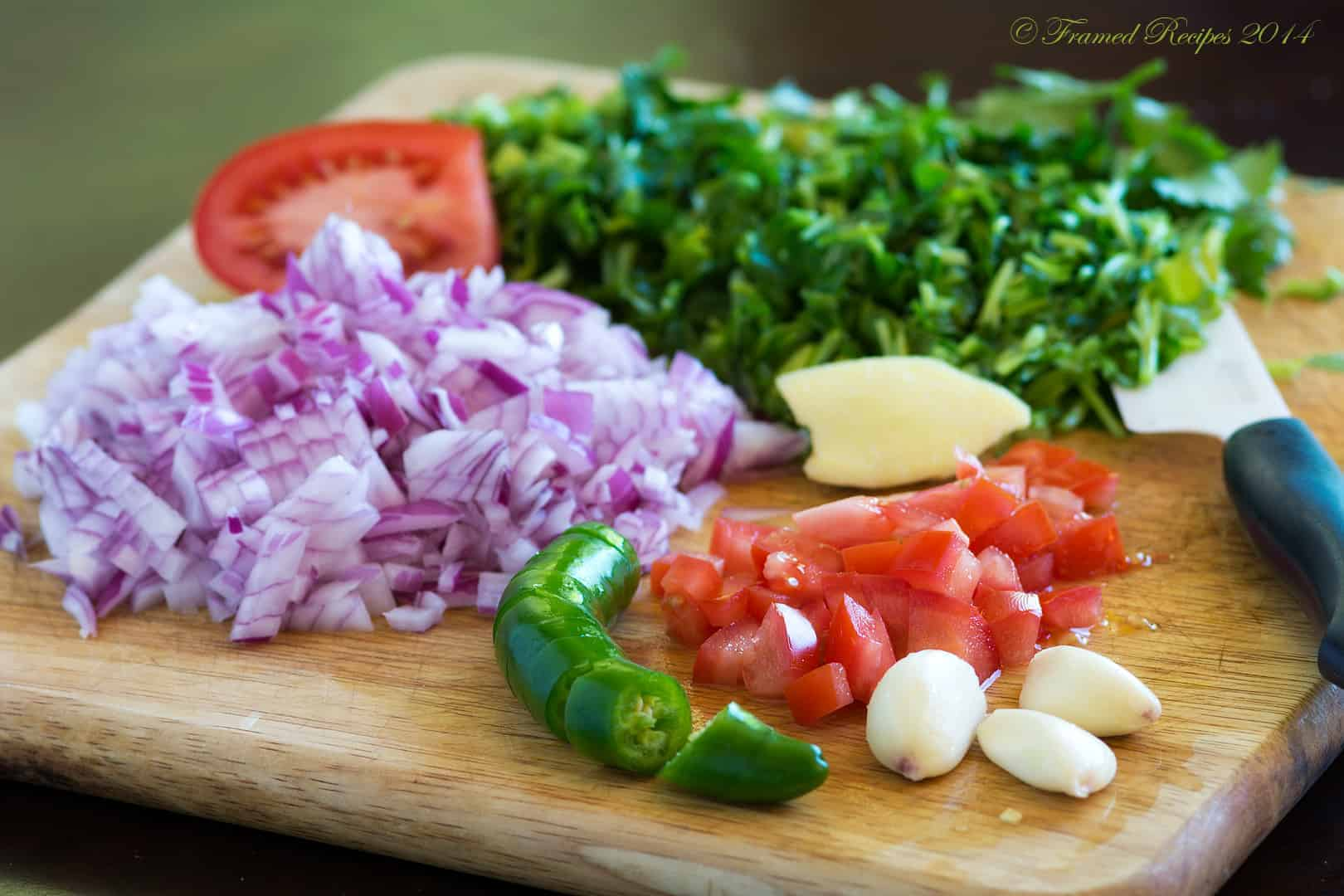 finely chopped onion, tomato, garlic cloves, ginger, chopped cilantro and serrano.