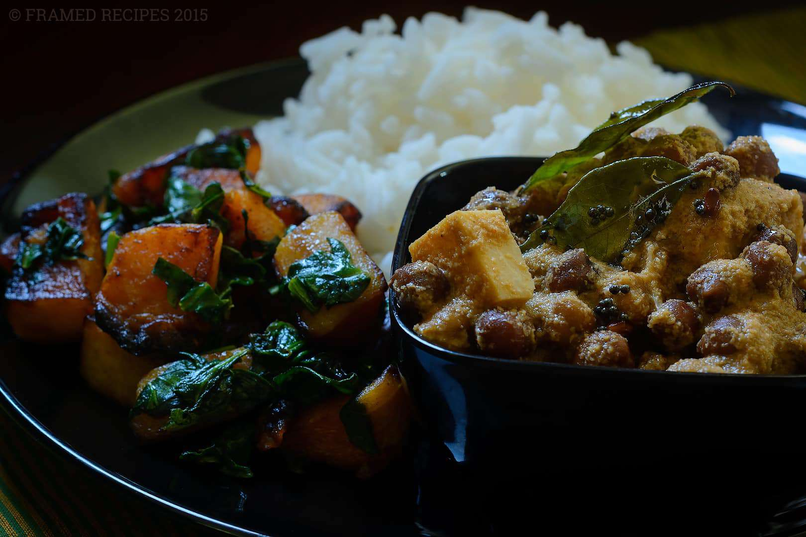 Mangalore style black chana curry served with rice and roasted butternut squash.