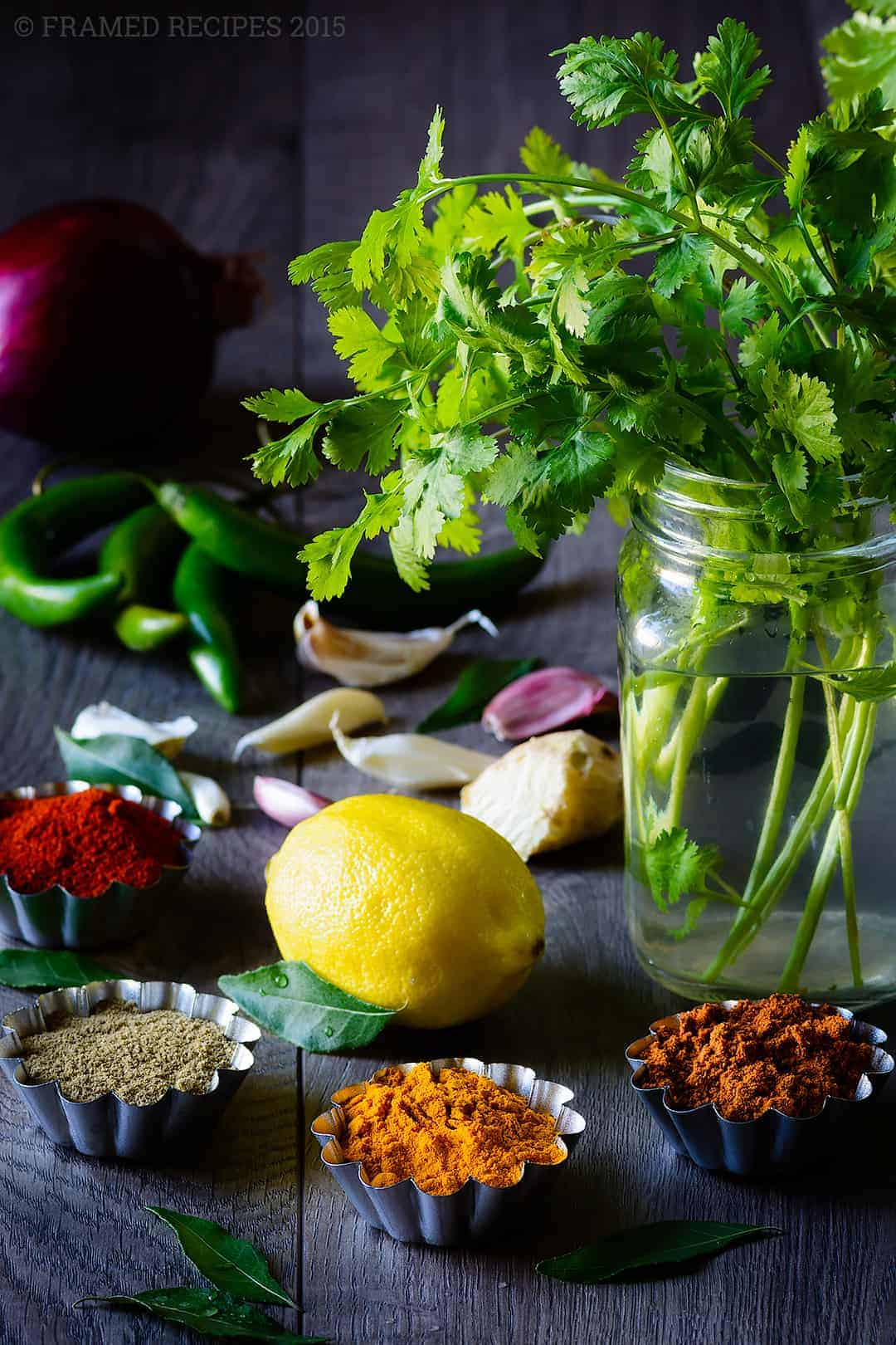 some of the spices and herbs for making cilantro chicken curry -  paprika, garam masala, coriander powder, turmeric powder, ginger, garlic, lemon, cilantro, onion and green chillies.