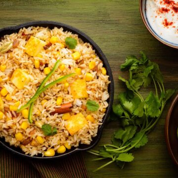 Paneer and Corn Pulao