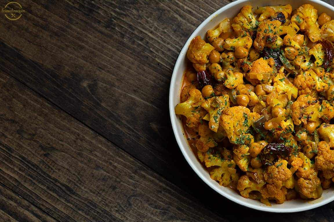 indian inspired cauliflower and chickpea curry.