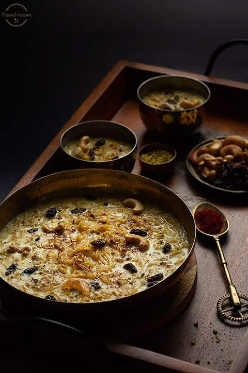 semiya payasam made in instant pot garnished with nuts, raisins and saffron