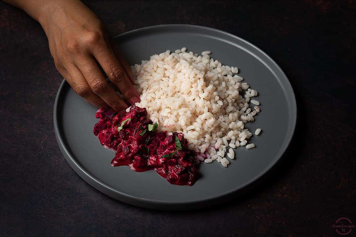 about to eat  - beetroot aviyal with red matta rice