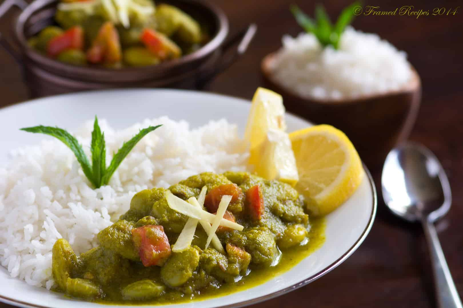 Lima_Beans_Curry served with rice and lemon wedge.