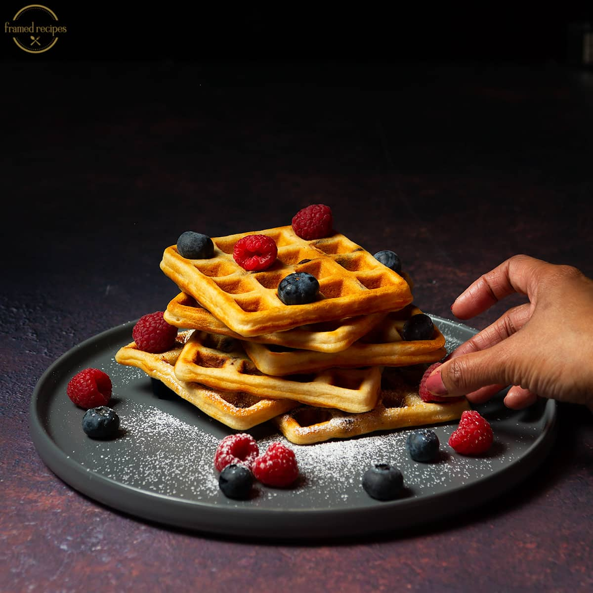 Yeasted_Oats_Waffles_MAPLE SYRUP_POURING_WITH_BERRIES