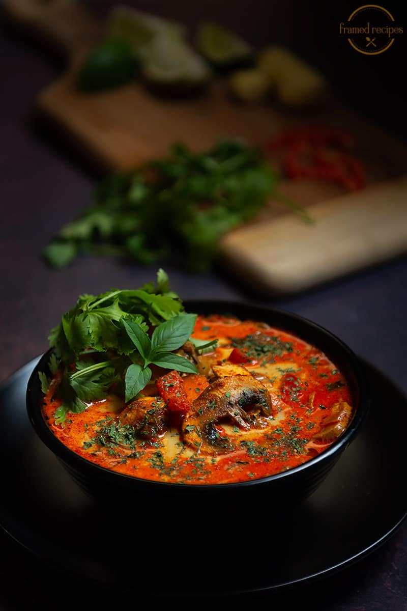 thai coconut curry soup with garnishes