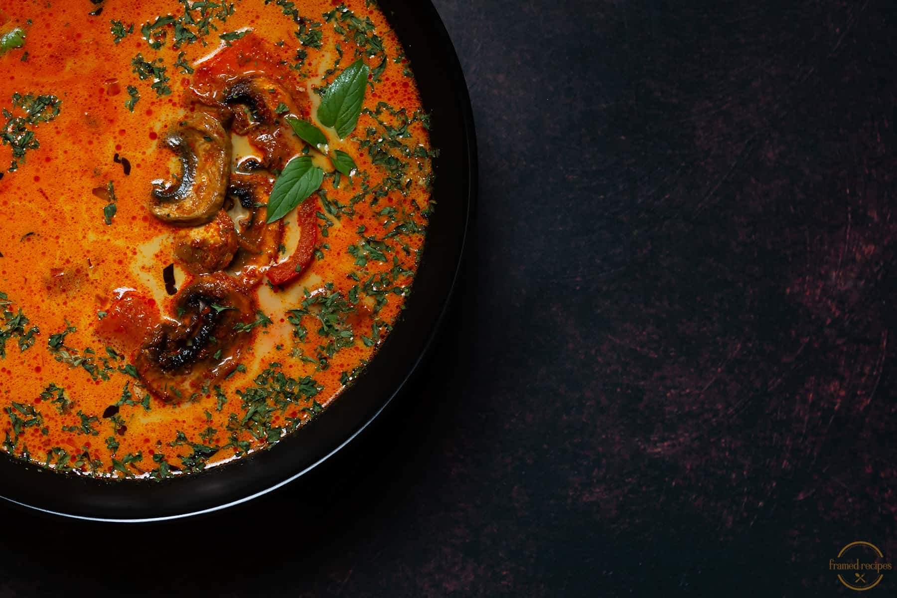 warm and comforting bowl of curry flavored thai coocnut milk soup