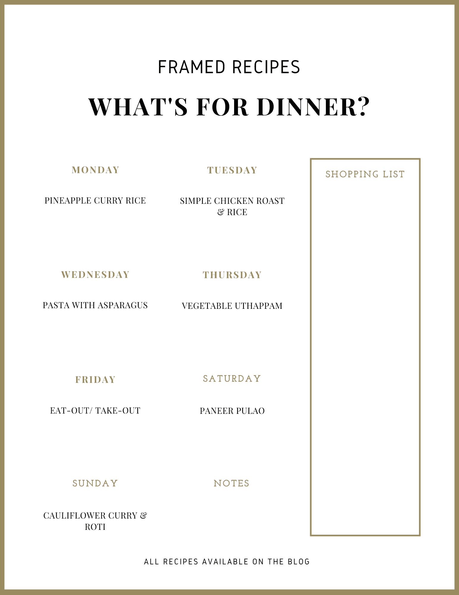 Framed Recipes Weekly meal plan number 1 printable