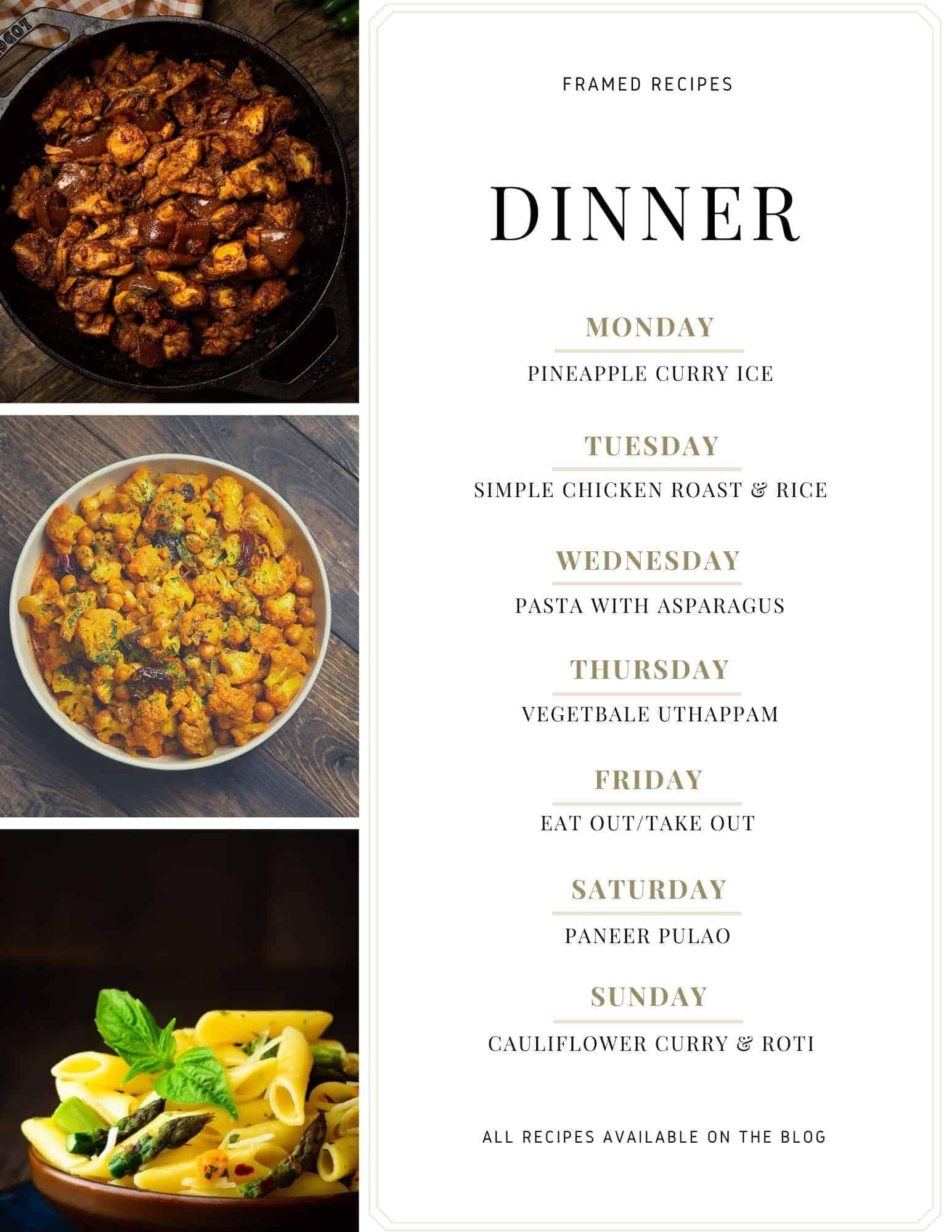 Framed Recipe Week Meal Plan Number 1