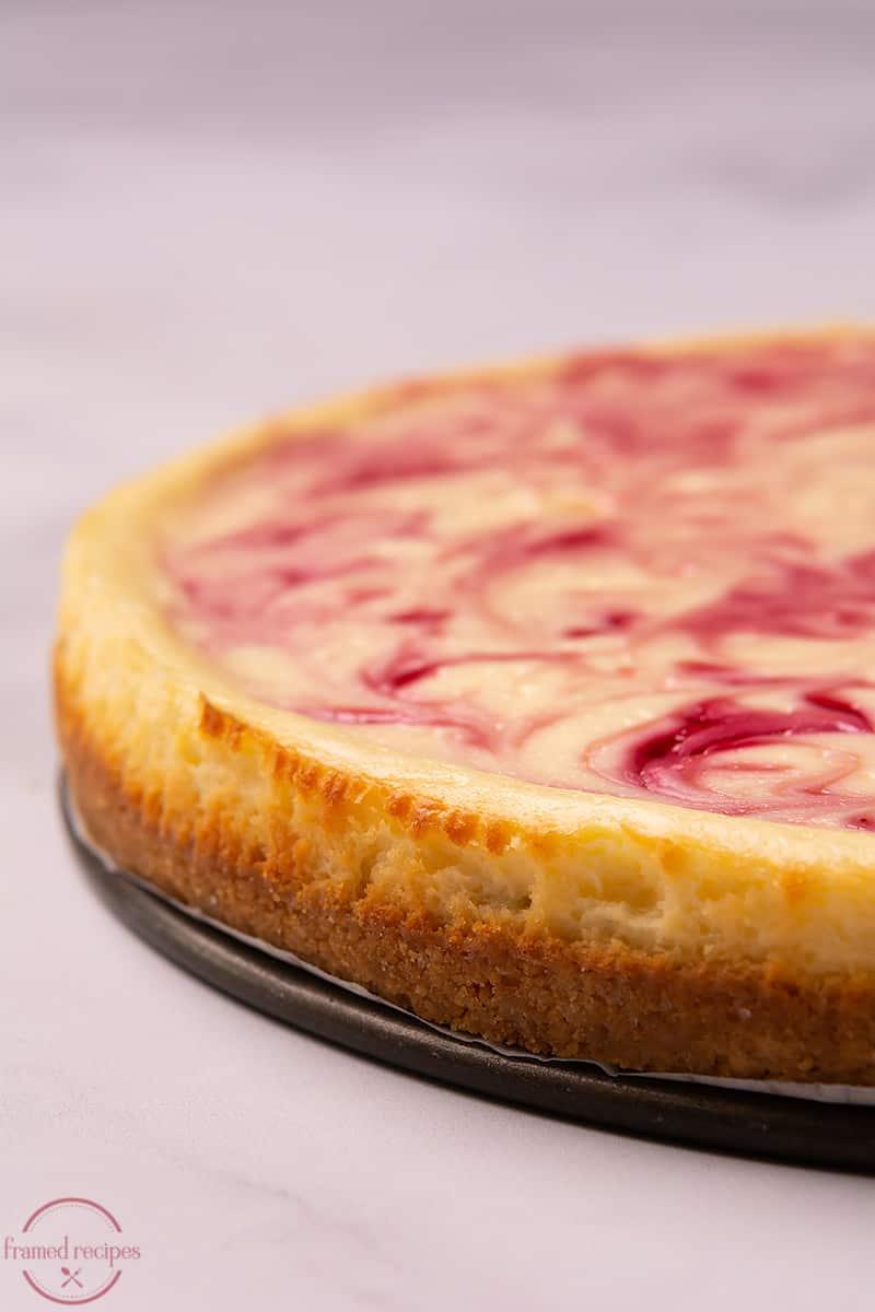 baked cheesecake with swirls