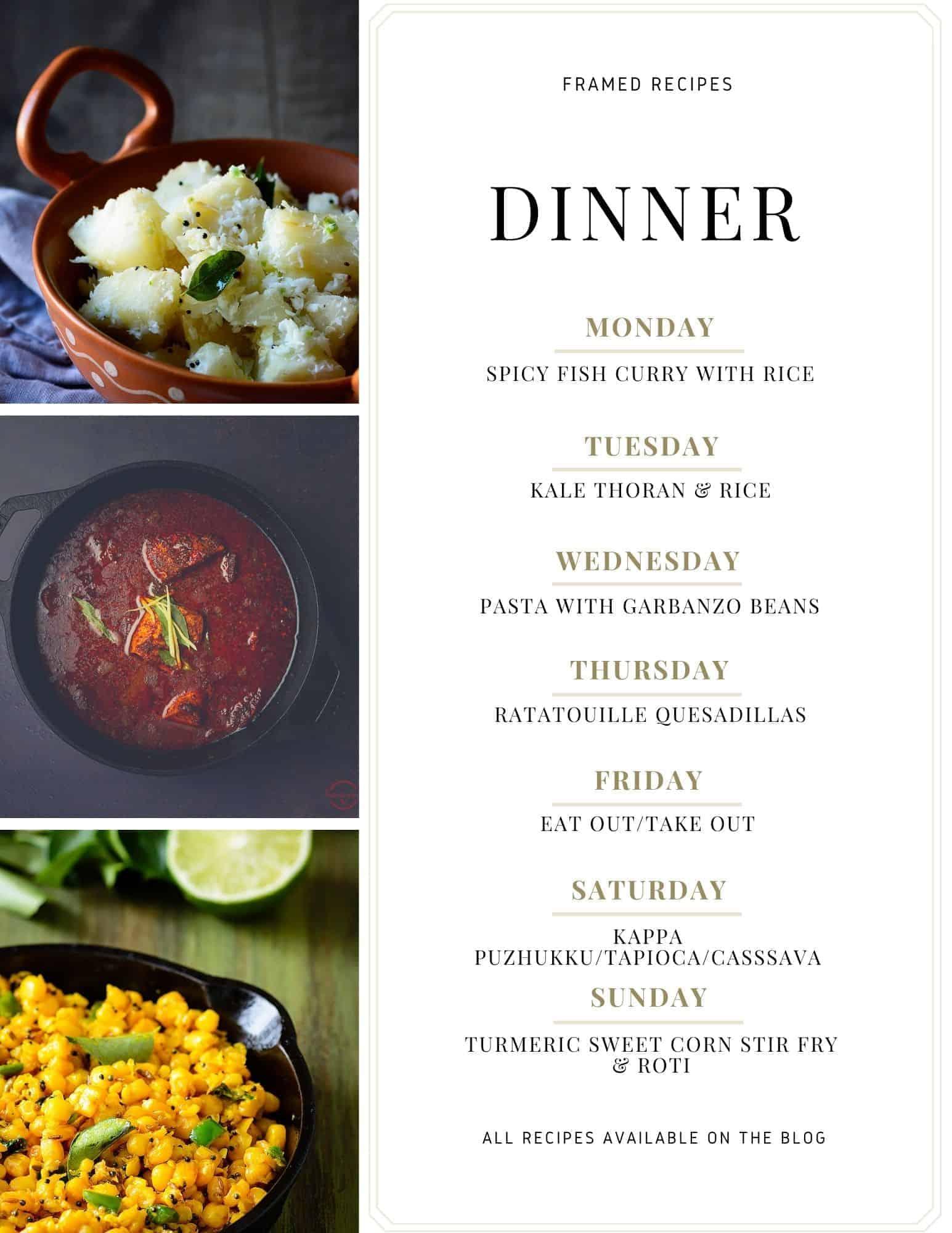 Framed Recipes Weekly Meal Plan Number 3 menu.