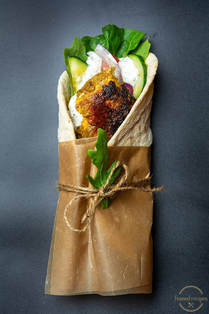 green chutney chicken wrap