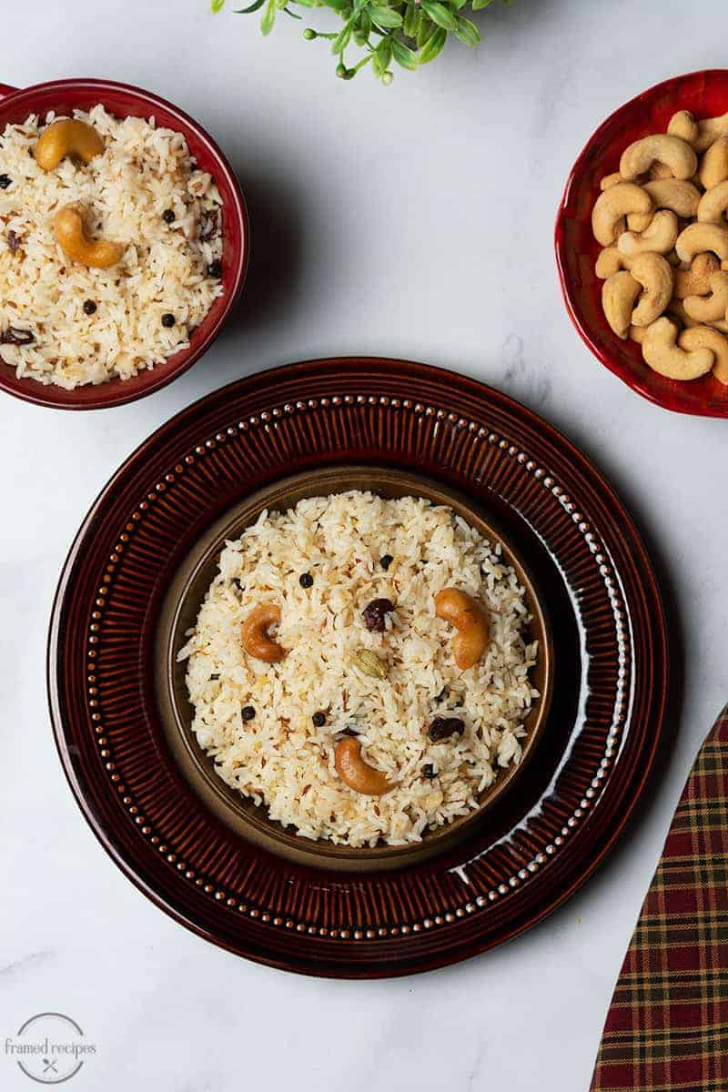 indian cumin rice garnished with cashews