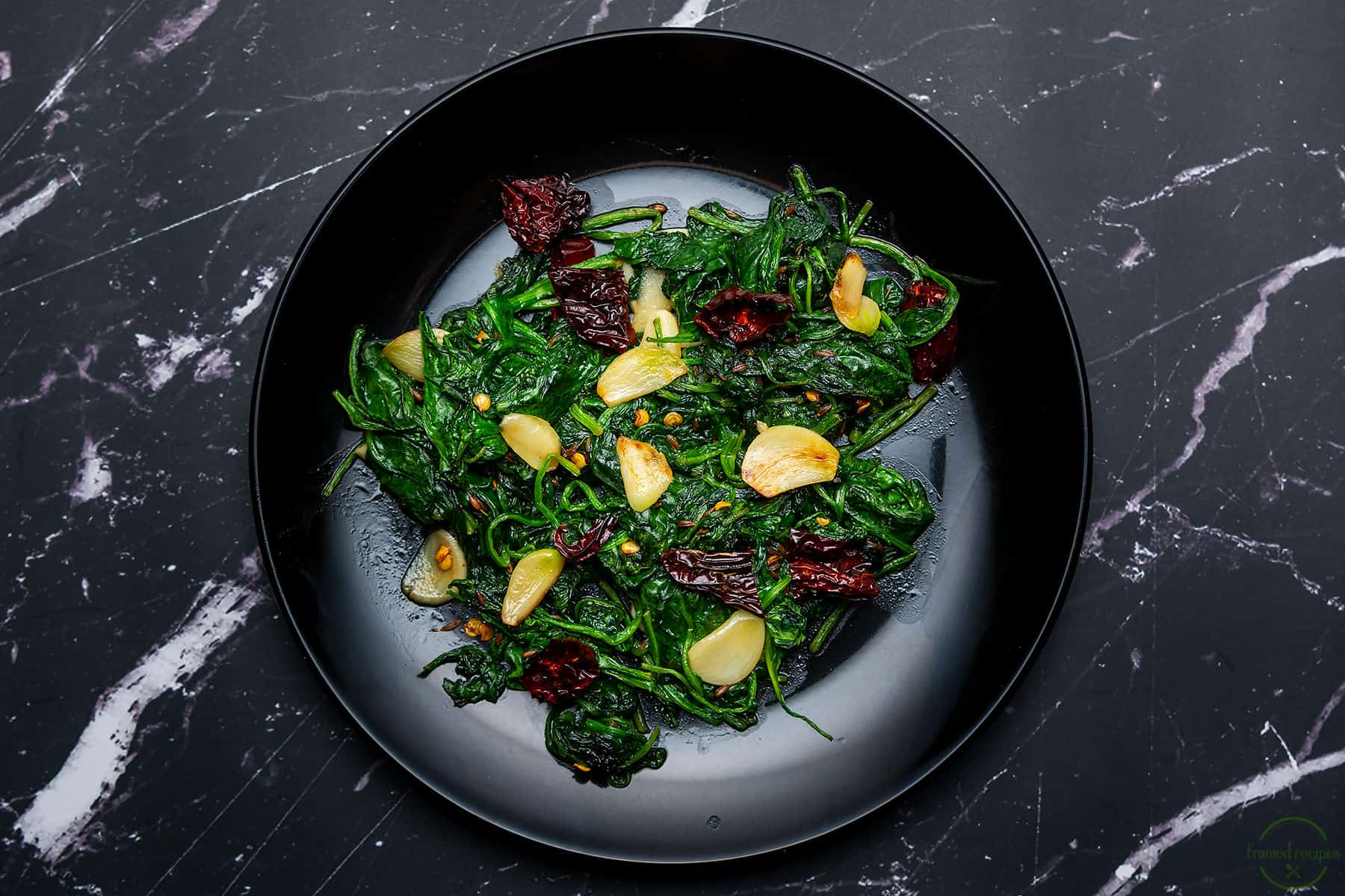 wilted spinach with garlic