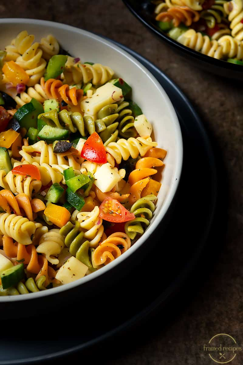 colorful vegetables and pasta salad